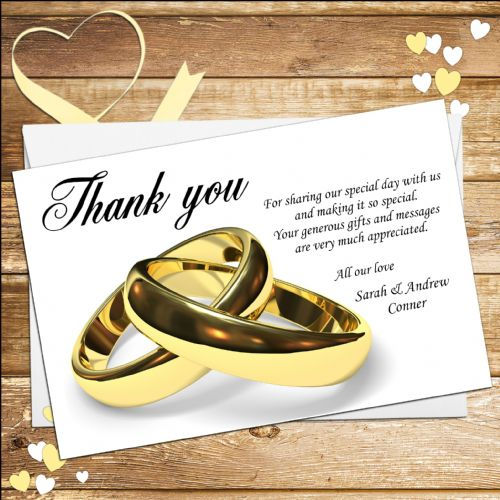 10 Personalised Wedding Gold Rings Thank you cards N10